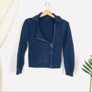 Sisley Navy Blue Ribbed Angled Zip Up Cardigan